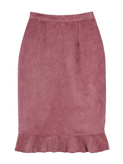 コーデュロイフリルタイトスカート