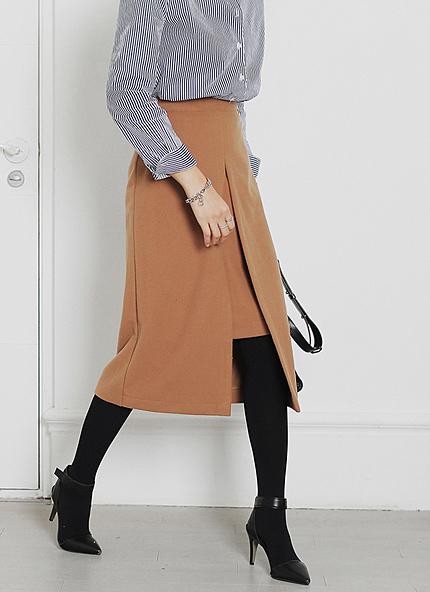 センタースリットミモレ丈スカート・全2色・t45557