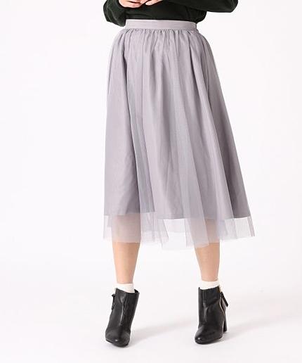 チュールミディボリュームスカート