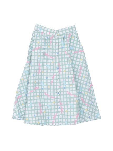 YURERUチェックロングスカート