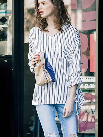 【FEMININE】ロングリラックスデコルテシャツ