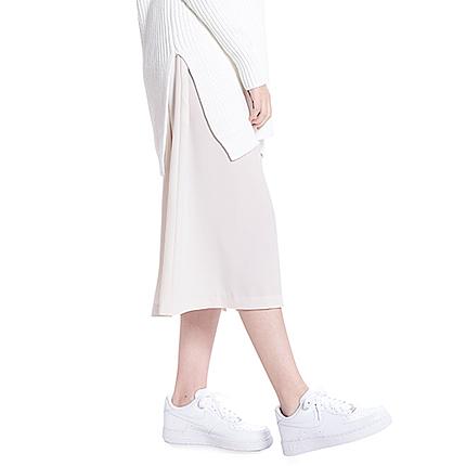 Gather slit mid- calf skirt