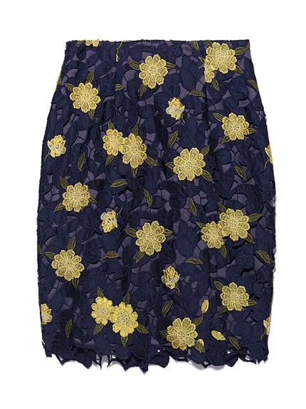 サテンレースタイトスカート