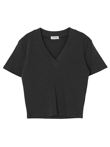 ワイドリブVネックTシャツ