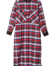 FLANNEL LONG SHIRT DRESS