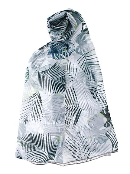 【LIFE】ポイントカラーリーフ柄スカーフ