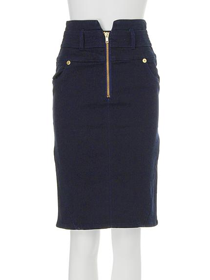 【CASUAL】ZIP切替ミドルタイトスカート