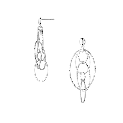 Aurora Sterling Silver Multi Loop Chandelier Earrings