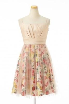 シャンタンプリント×チュールスカートドレス
