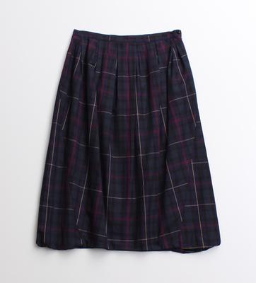 先染めビエラチェックちょうちんスカート