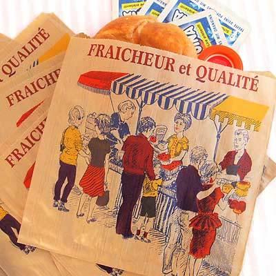 マルシェ袋 フランス 海外市場の紙袋5枚セット