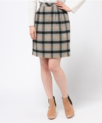 ASRORIA ODIER (アストリアオディール)シャギーチェックタイトスカート