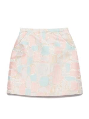 Lily Brown (リリーブラウン)  ブロック柄台形スカート