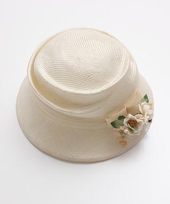 アトリエ染花×OLIKA コサージュ付麦わら帽子