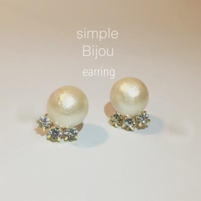 cotton pearl 3bijous earring