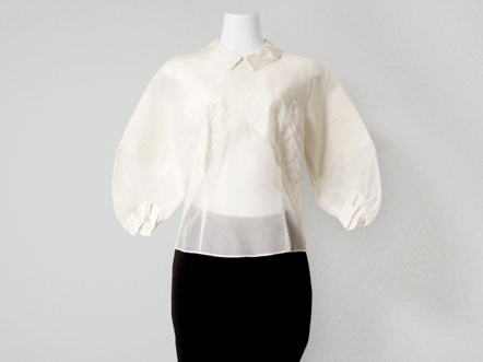 PAUL&JOE Off white silk organza dress blouse