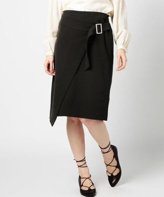 ROSE BUD ベルト付きミディアム丈スカート