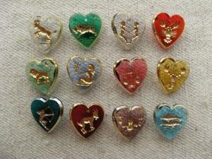 Zodiac Heart Glass Intaglio Pendant