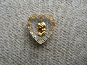 Tiny Cameo Heart Glass Intaglio Pendant