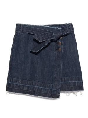 デニム台形ラップスカート