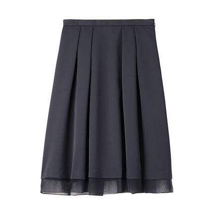 [L]レイヤード風ミモレ丈プリーツスカート
