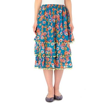 3段花柄シフォンスカート