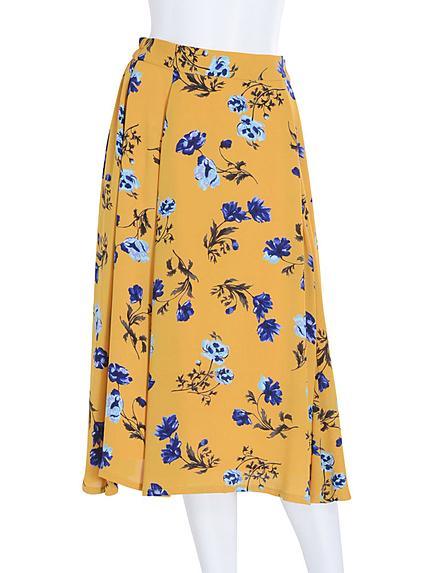 【DUO】 花柄フレアミディスカート