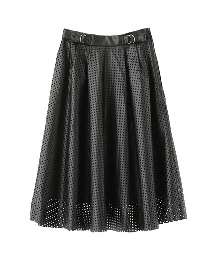 パンチングフェイクレザースカート