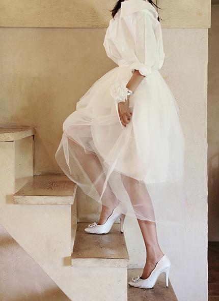 チュール重ねホワイトミディスカート・全1色・e43022