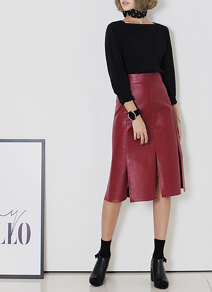 ウエストゴムスリットヘムAラインコーティングスカート・全2色・t45705
