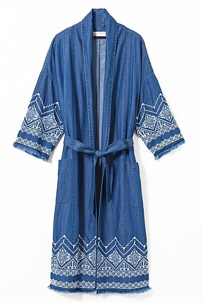 【navasana】インディゴデニム刺繍ロングジャケット
