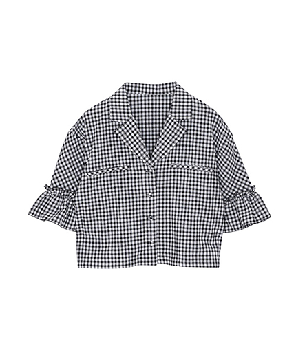 オープンカラーギンガムシャツ