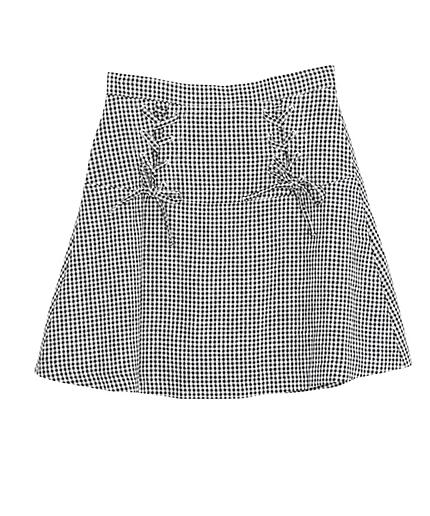 ギンガムレースアップ台形スカート
