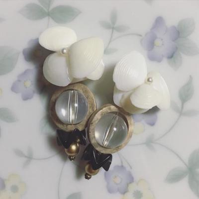《 Pre-order 》Cigogne Big Shell flower earrings