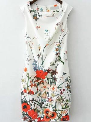 ワンピース ノースリーブ 花 ドレス
