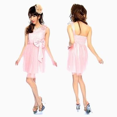 ワンショルダーリボン付ミニパーティ―ドレス