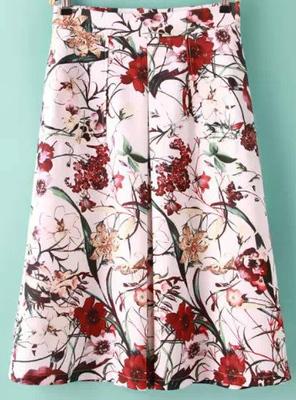 ホワイトフローラルAラインスカート