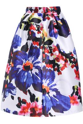 多色花フレアミディスカート