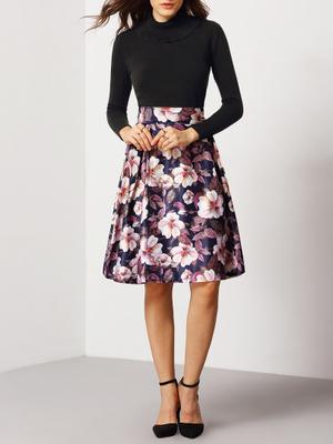 カラー花フレアミディスカート