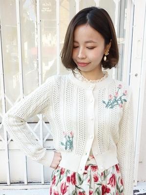 ローズ刺繍透かし編みカーディガン
