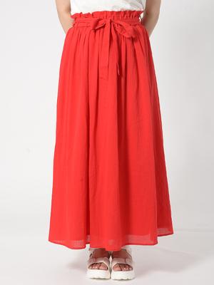 リボン付きコットンロングスカート